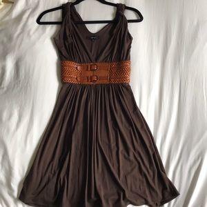 Sky leather belt dress